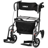 Lumex Combination Rollator and Transport Chair Titanium Color