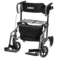 Combination Rollator and Transport Chair, Titanium Color