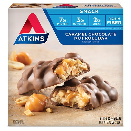 Atkins Advantage Snack Bars Caramel Chocolate Nut Roll,5 pk