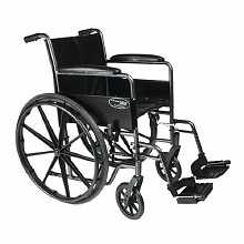 Everest & Jennings Steel Wheelchair with Fixed Full Arms, Swingaway Footrest, 18in Seat Width Black