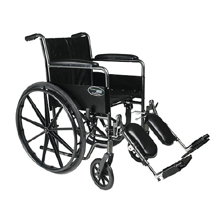 Everest & Jennings Travelers SE Steel Wheelchair Standard with Fixed Full Arms and Elevating Legres Black