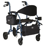 Medline Deluxe Combination Transport Chair and Rollator Blue