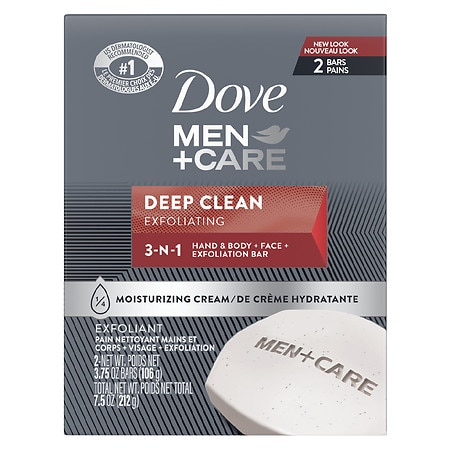 Dove Men+Care Body & Face Bar Deep Clean, 2 pk