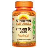 Sundown Naturals Vitamin D3 2000 IU Dietary Supplement Softgels