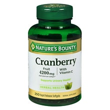 Nature's Bounty Cranberry 4200 mg Plus Vitamin C Dietary Supplement Softgels Triple Strength