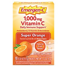 1000 mg Vitamin C Dietary Supplement Super Orange Fizzy Drink Mix, Super Orange