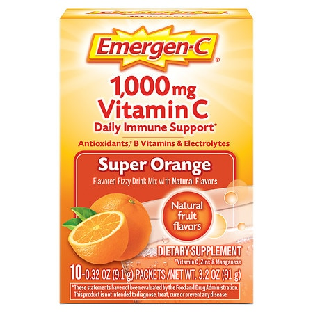 Emergen-C 1000 mg Vitamin C Dietary Supplement Fizzy Drink Mix Orange