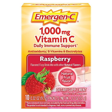 Emergen-C 1000 mg Vitamin C Dietary Supplement Fizzy Drink Mix Raspberry