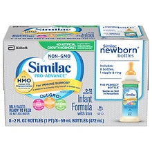 Advance Infant Formula Ready to Feed Newborn Bottles 8 Pack, 8 - 2oz. Ready to Feed Bottles