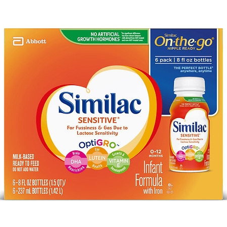 Similac Advance Sensitive, On-the-Go Infant Formula with Iron, Ready to Feed 8 fl oz Bottles