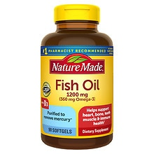 Nature Made Fish Oil 1200 mg +Vitamin D Liquid Softgels