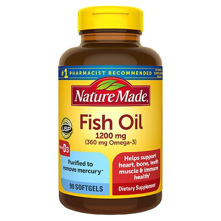 Nature made fish oil 1200 mg 100 liquid softgels for Vitamin d fish