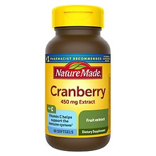 Super Strength Cranberry Herbal Supplement 450 mg Extract Softgels