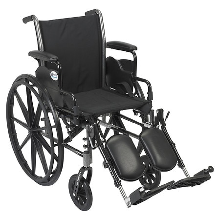 Drive Medical Cruiser III Lightweight Wheelchair w Flip Back Removable Desk Arms and Leg Rest 20 Inch Black