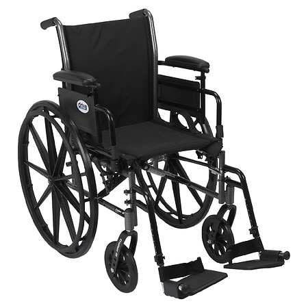 Drive Medical Cruiser III Lightweight Wheelchair w FlipBack Removable Adj Desk Arms & FootRest 16 Inch Black
