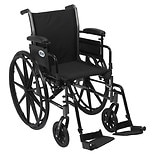 Drive Medical Cruiser III Lightweight Wheelchair w FlipBack Removable Adj Desk Arms & FootRest 18 Inch Black