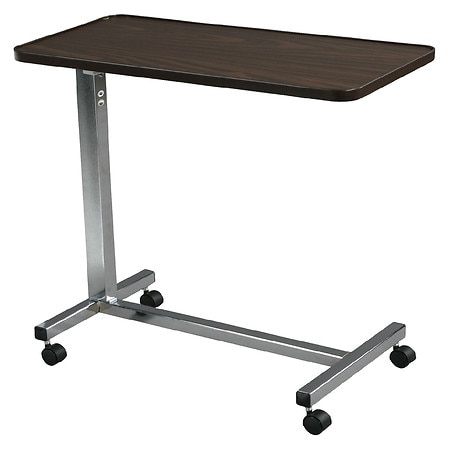 Drive Medical Non Tilt Top Chrome Overbed Table Walnut and Chrome