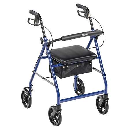 Drive Medical Rollator Walker with Fold Up Removable Back Support Padded Seat Blue