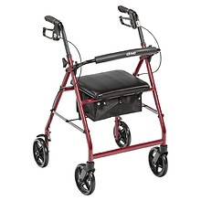 "Drive Medical Aluminum Rollator Fold Up, Removable Back Support, Pad Seat, 8"" Casters Red"