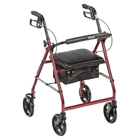 Drive Medical Rollator Walker with Fold Up Removable Back Support Padded Seat Red