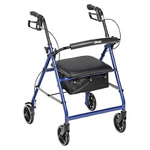 Drive Medical Aluminum Rollator Fold Up, Removable Back Support, Pad Seat, 6in Casters Blue