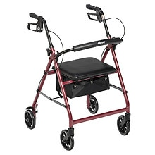 "Drive Medical Aluminum Rollator Fold Up, Removable Back Support, Pad Seat, 6"" Casters Red"
