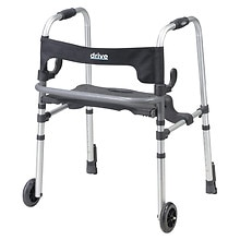Clever Lite LS Rollator Walker with Seat and Push Down Brakes Gray