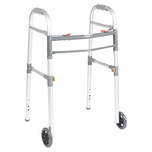 "Drive Medical Deluxe Two Button Folding Universal Walker with 5"" Wheels"
