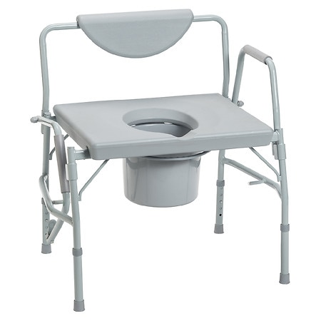 Drive Medical Bariatric Drop Arm Bedside Commode Seat Over Sized Heavy Duty