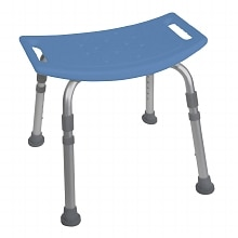 Deluxe Aluminum Bath Bench without Back-Blue, Blue