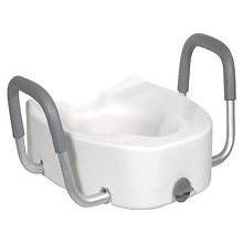 Drive Medical Plastic Raised Elongated, Regular Toilet Seat with Lock and Arms