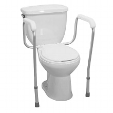 Drive Medical Knockdown Toilet Safety Frame With Padded Arms White