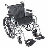 Drive Medical Chrome Sport Wheelchair Detachable Desk Arm, Swing Away Leg Rests 18 inch Black