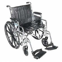 Drive Medical Chrome Sport Wheelchair Detachable Full Arm, Swing Away Leg Rests 18 inch Black