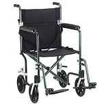 Drive Medical Fly-Weight Lightweight Aluminum Transport Wheelchair 19 inch Green