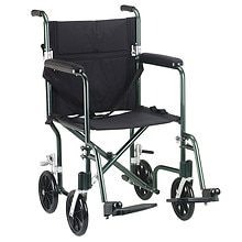 Drive Medical Flyweight Lightweight Transport Wheelchair 19 inch Green