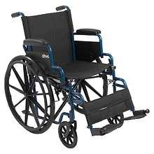 Drive Medical Blue Streak Wheelchair Flip Back Detachable Desk Arms Swing-away Foot Rest