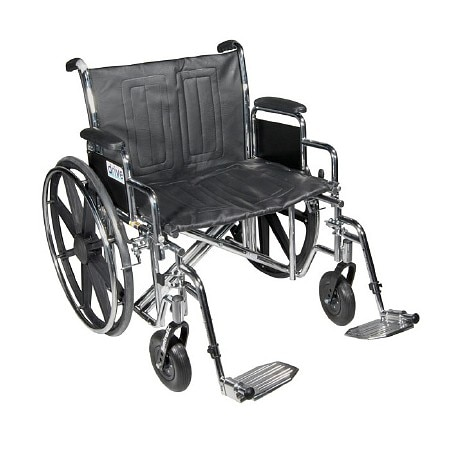 Drive Medical Sentra Heavy Duty Wheelchair with Detachable Full Arms 30 Inch Silver Vein