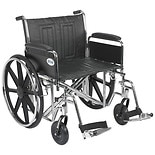 Sentra Sentra EC Heavy Duty Wheelchair with Detachable Full Arms and SwingAway Footrest 24 inch Black