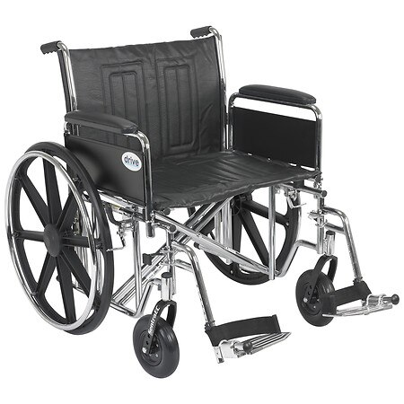 Drive Medical Sentra EC Heavy Duty Wheelchair with Detachable Full Arms and SwingAway Footrest 24 inch Black