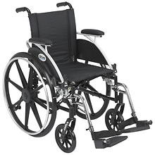 "Viper 14"" Wheelchair Flip Back Removable Desk Arms; Front Rigging: Swingaway Footrest"