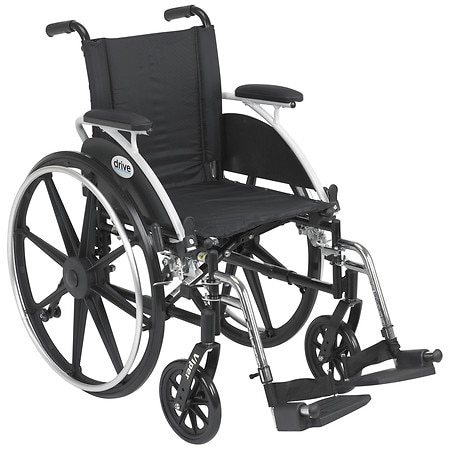 Drive Medical Viper Wheelchair with Flip Back Removable Desk Arms and Swing Away Footrest 14 Inch