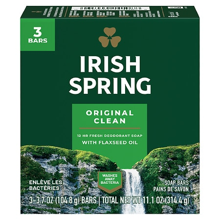 Irish Spring Deodorant Soap Bars 3 Pack Original,3.75oz