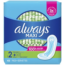 Always Maxi Pads without Wings Unscented,Long Super