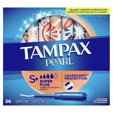 Tampax Pearl Tampons Plastic Applicator Unscented,Super Plus