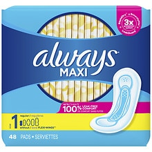 Maxi Regular Pads Without WingsRegular, 48 ea
