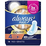 Always Maxi Overnight with Wings, Unscented Pads