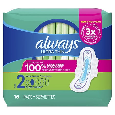Always Ultra Thin Pads with Wings, Unscented Long/Super