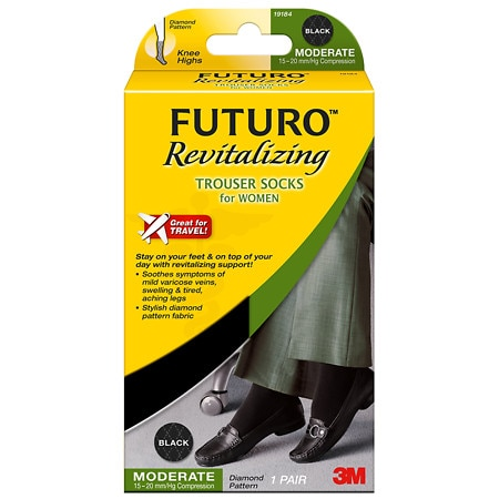 FUTURO Revitalizing Trouser Socks for Women, Moderate Large Black