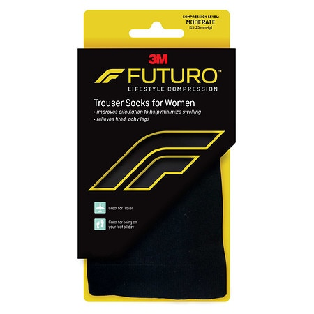 FUTURO Revitalizing Trouser Socks for Women, Moderate Medium Black